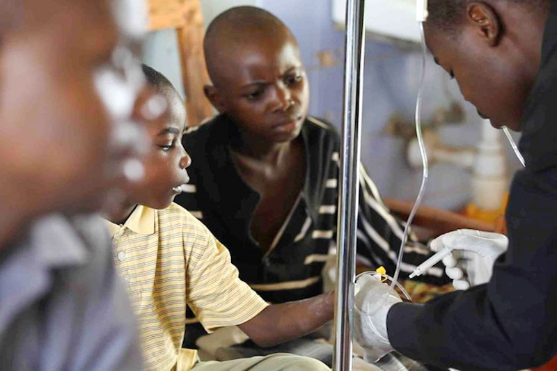 Boys receiving chemo therapy funded by the Burkitt's Lymphoma Fund for Africa at Barack Obama Children's Hospital in Kisumu, Kenya. (Photo by Jonah Einstein)