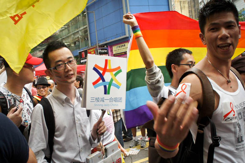 Roy as a representative of Shining Jazzy Chorus in last year's Hong Kong Pride Parade.