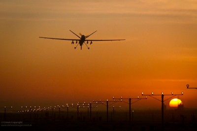 An MQ-9 Reaper drone comes into land at Kandahar Airbase in Helmand, Afghanistan. (Photo by UK Ministry of Defence)