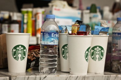 While Starbucks functioned as a first-aid stand, volunteers used cups to hold small bits of supplies. (Photo by Christan Leonard)