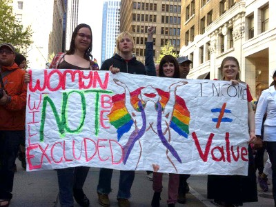 "The newly formed Gender Justice League marches in Seattle's May Day rally. (Photo via <a href=""https://www.facebook.com/GenderJusticeLeague"" target=""_blank"">GJL Facebook Page</a>)"