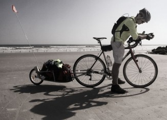 Quincy Briscoe, during last year's charity bike ride from Florida to California. (Photo by Christopher Briscoe)