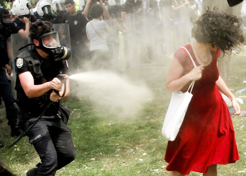 This photo of a Turkish woman being pepper sprayed by a police officer has become a uniting symbol for the protestors in Turkey. (Photo by REUTERS/Osman Orsal)