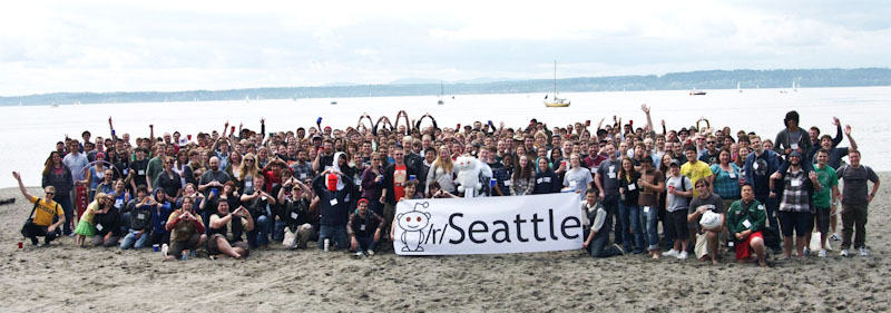 The Seattle meetup for last year's Global reddit Meetup day, at Golden Gardens. (Photo by reddit user mytmau5)