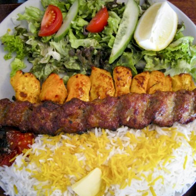 "Chelo kebab, the quintessential Iranian dish consisting of rice and meat skewers. (Photo by <a href=""http://www.flickr.com/photos/jtjfernandez/5196704840/"">José Fernandez </a>)"