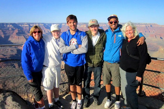 The Mennie host family with Adham, an Italian exchange student, on a trip to Montana. (Photo courtesy AFS)