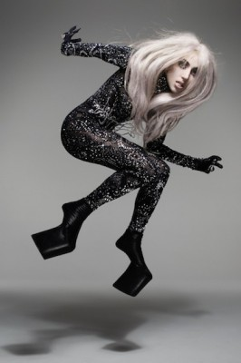 "Lady Gaga in a body suit called ""Protein,"" part of the ""Skin Series"" designed by Tamae Hirokawa for the Somarta label. (Photo from Vanity Fair)"