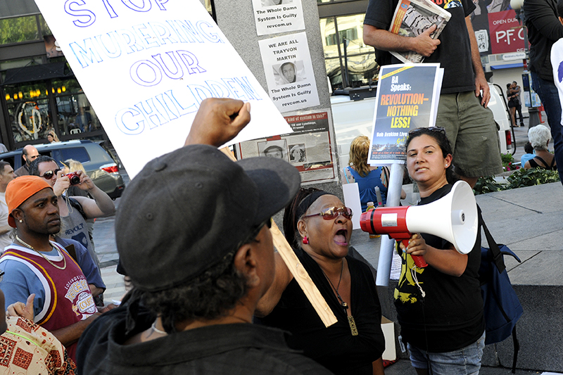 A mother speaks out against the Zimmerman verdict during a rally at Westlake Center, Sunday July 14. (Photo by Sara Stogner)