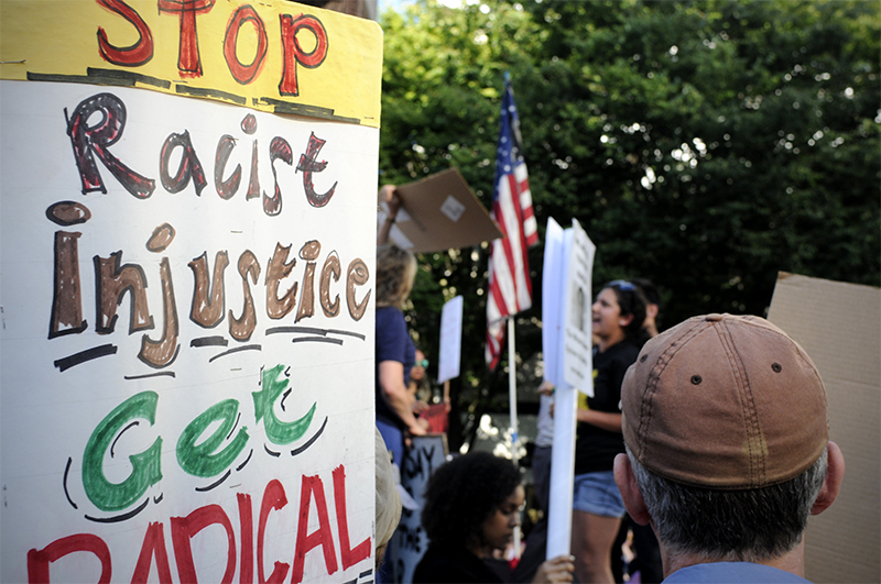 Hundreds turned out in support of Trayvon Martin for a rally at Westlake Center, Sunday July 14. (Photo by Sara Stogner)