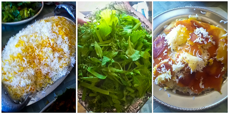Chelo (rice), sabzi (greens) and tahdiq (crispy rice with potatoes). (Photos by Mahroo Keshavarz)