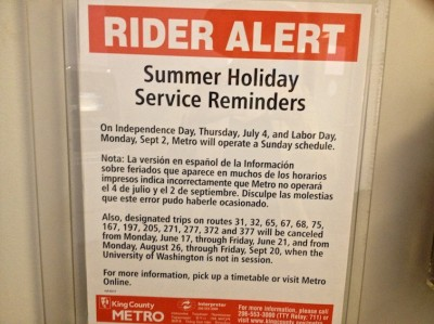 The metro rider alert issued before the Fourth of July. (Photo by Joana Ramos)