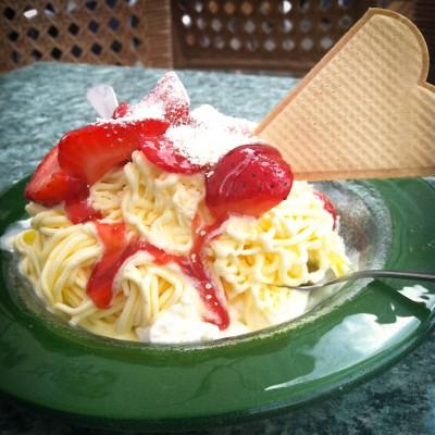Spaghettieis, a German sundae that's made to look like a bowl of spaghetti bolognaise. (Photo by Ana Sofia Knauf)