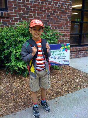 The author's son, Kieran, attended summer camp for the first time this year. Photo by Frederica Jansz.