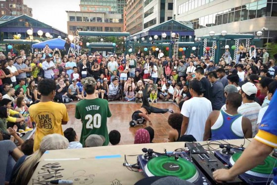 Breakdancers throw down on the Moon Festival main stage. (Photo by Sam Kenyon)