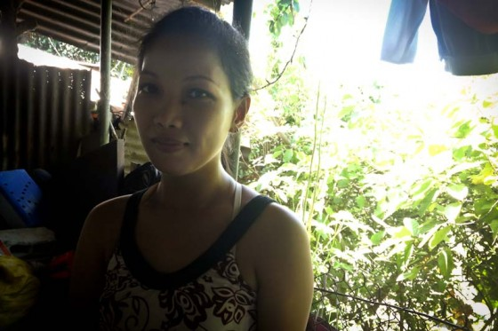 Barbie Rergio,at her home in Payatas, one of the poorest areas in metropolitan Manila. (Photo by Jill Mangaliman)