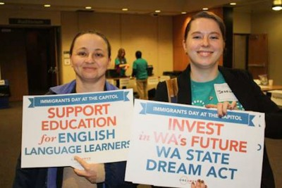 Students in Olympia lobbying lawmakers to support funding for ELL programs. (Photo courtesy OneAmerica)