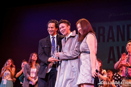 Executive Director for Kollaboation Seattle Victoria Ju (right) awards competitors Troy Osaki (center) and Ariel Loud (left). (Photo by John Xiaomeng Zhang)
