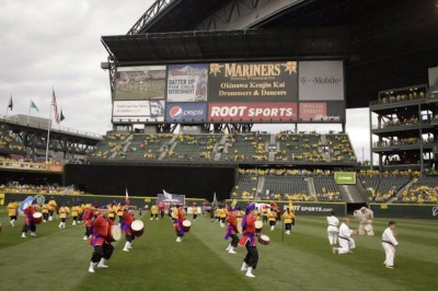 Last year's Salute to Japanese Baseball Night, featuring martial arts and taiko drumming. (Photo courtesy the Seattle Mariners)