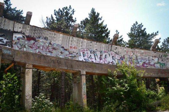 The deteriorated bobsled course from the 1984 Olympic Games, on Mount Trebevic. (Photo by Anna Callaghan)