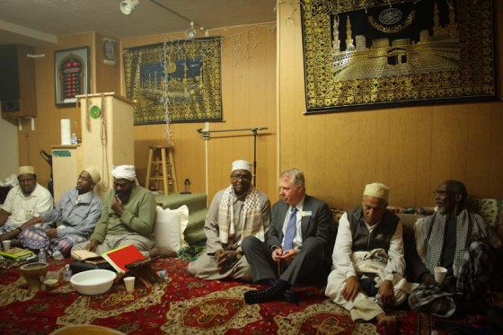 Ed Murray joined community leaders for an Ethiopian Dinner and Mosque service at the Afrique Service Center on a recent Friday.(Photo by Ibrahim Diis)