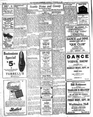 The Northwest Enterprise from 1932, with an ad for a movie and dance at Washington Hall in the lower right. (Courtesy of Washington Hall)