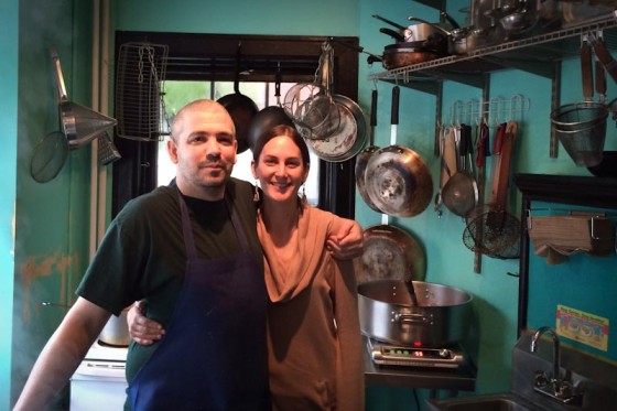 Kevin Burzell and Alysson Wilson in Kedai Makan's tiny kitchen. (Photo by Ruchika Tulshyan)