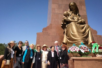 The Seattle delegation, including the author (fourth from left) at the Happy Mother monument in Mustakillik Square. (Photo by Jeff Godden)
