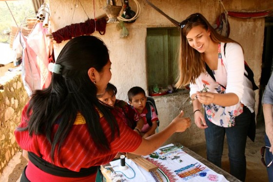 JJozlyn Pelk visits the home of Espiritu Santos Alvarez, an artisan beader trained at a vocational center in the remote town of Santa Cruz la Laguna, Guatemala, with funding from Lopez Island-based Amigos de Santa Cruz Foundation. (Photo by Gloria Mayne / The Seattle International Foundation)