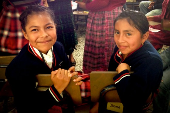 Andrea and Juana, two students at the Casa Blanca school in Guatemala who are receiving scholarship support from Seattle donors. (Photo by Gloria Mayne / The Seattle International Foundation)