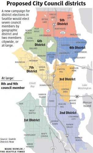 """Seattle's new City Council districts. District 2 is """"majority-minority,"""" but critics say minority voting blocs will be diluted in districts 1 and 3 (Map via The Seattle Times — used by permission)"""