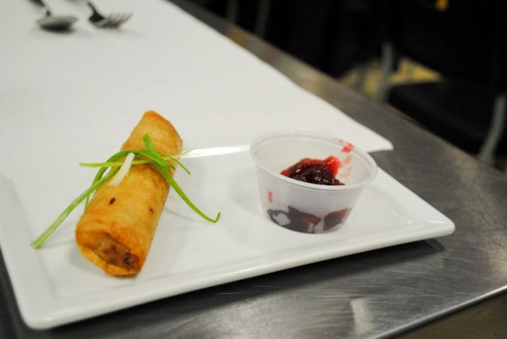 Lumpia, fried egg rolls typically filled with pork ,are stuffed with turkey and served with a spicy cranberry relish, a play on sweet and sour sauce. (Photo by Anna Goren)