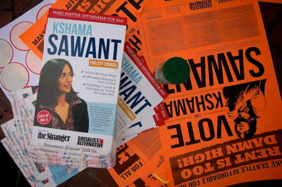 """Campaign pamphlets for Indian-American Socialist candidate Kshama Sawant. (Photo by <a href=""""http://www.flickr.com/photos/pnwbot/"""">pnwbot </a> via Flickr)"""