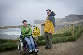 Taken near the edge of a walkway at the Cliffs of Moher. My dad and I couldn't resist posing with this sign. I guess it's the adrenaline junkie in us. (Photo courtesy Hannah Langlie)