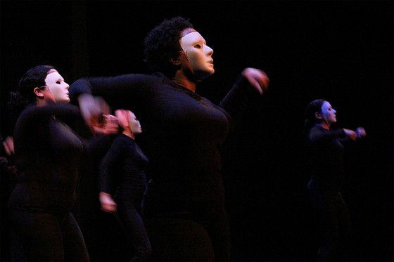 "Kiana Harris, center, dances in ""Toro Mata"" at Langston Hughes Performing Art Center, Dec. 13. (Photo by Aida Solomon)"