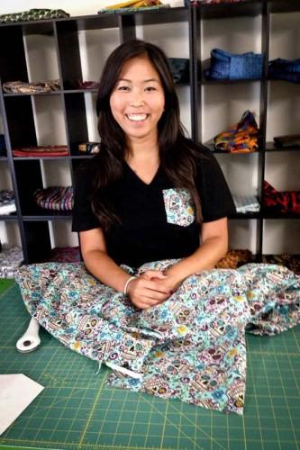 UW student Kayla Kato visiting Serengetee's headquarters in California. (Photo courtesy Kayla Kato)