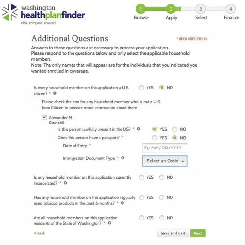 A screenshot of the Healthplanfinder site showing some of the questions posed to non-citizens to determine eligibility.