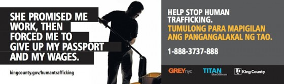 Tagalog language posters from the King County Anti-Trafficking campaign.