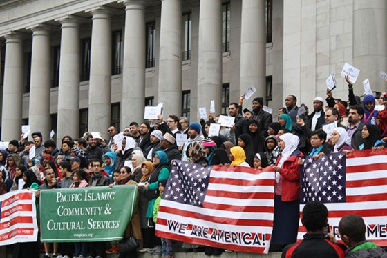 More than 500 Muslim Americans gathered at the state capitol on Monday to lobby the State Legislature. (Photo by Atia Musazay)