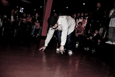 Fut breakdancing in front of a crowd. (Photo courtesy of Fut)