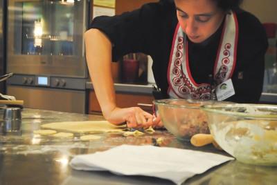 Irina Vodonos preparing dough for pelmeni. (Photo by Anna Goren)