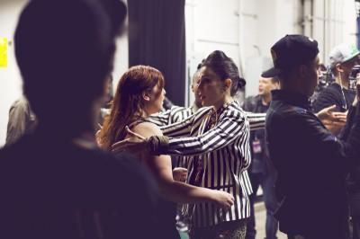 "Macklorette Anna Matuszewski hugs singer Mary Lambert backstage. Lambert was the female vocalist featured on the track ""Same Love."" (Photo courtesy of Amir Zahed)"