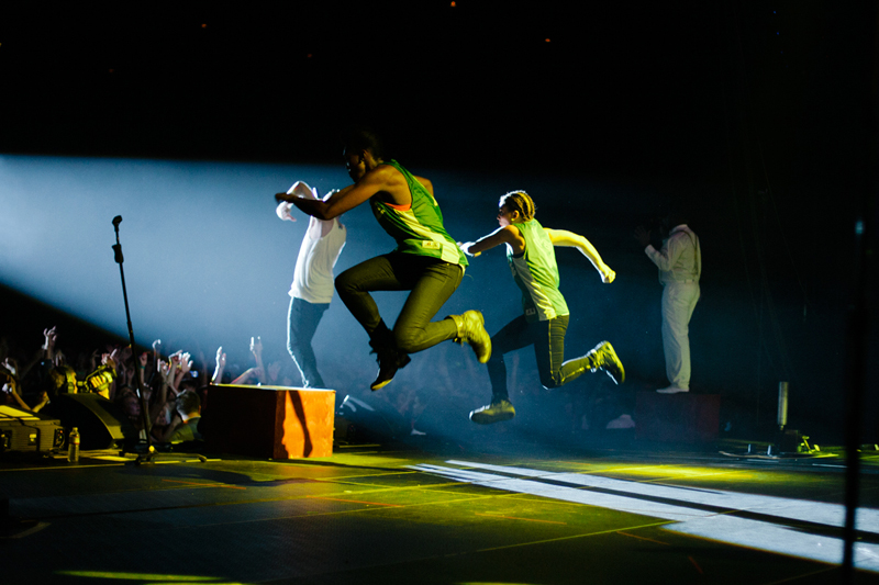 Dancer Anna Matuszewski, onstage with Macklemore (Photo courtesy of Amir Zahed)