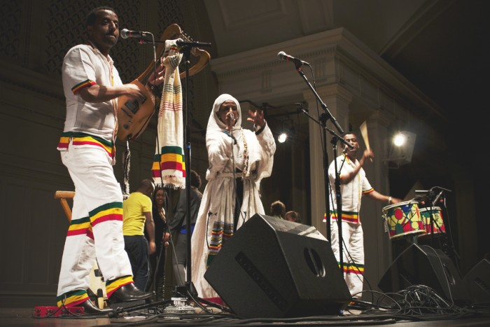 The Krar Collective perform a traditional song from the Northern Ethiopian region of Tigray. (Photo by Aida Solomon)