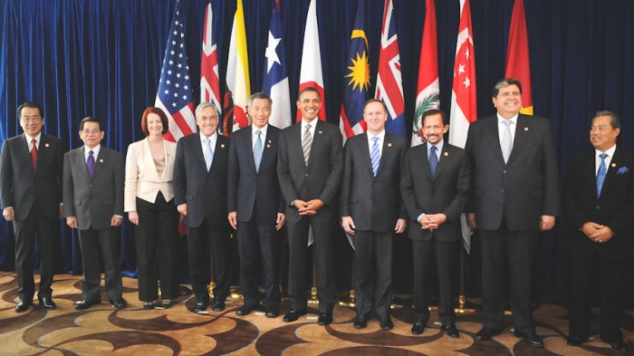 Leaders of TPP member states and prospective member states at a TPP summit in 2010. (Photo from Wikipedia)