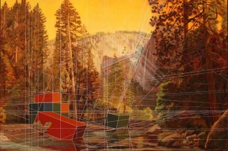 Merced River with Containers. (Painting by Mary Iverson)