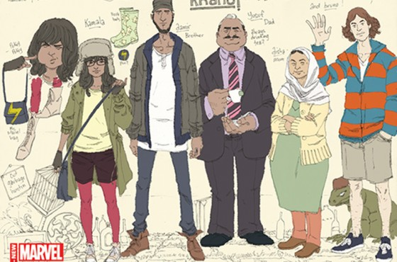Meet two generations of Khans in a sketch of heroine Kamala Khan and her family. (Artwork by Adrian Alphona)