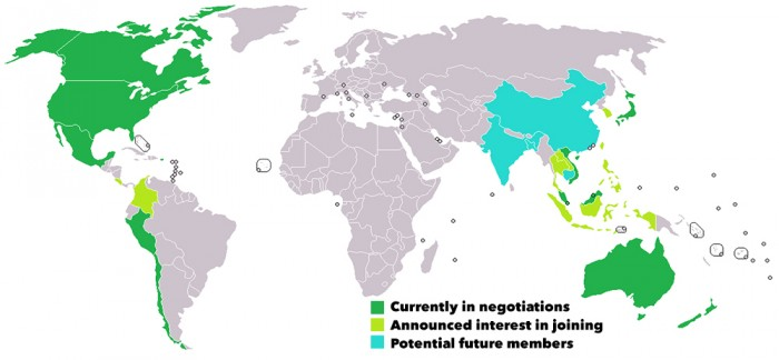Countries involved in TPP negotiations (Map via Wikipedia)