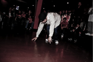 Vanna Fut breakdancing in front of a crowd. (Photo courtesy of Vanna Fut)