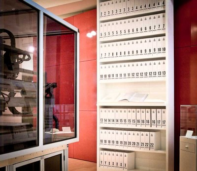 The first printout of the human genome, displayed at the Wellcome Collection, London. The 3.4 billion units of DNA code are transcribed into more than a hundred volumes, each a thousand pages long, in type so small as to be barely legible. (Photo by Russ London)