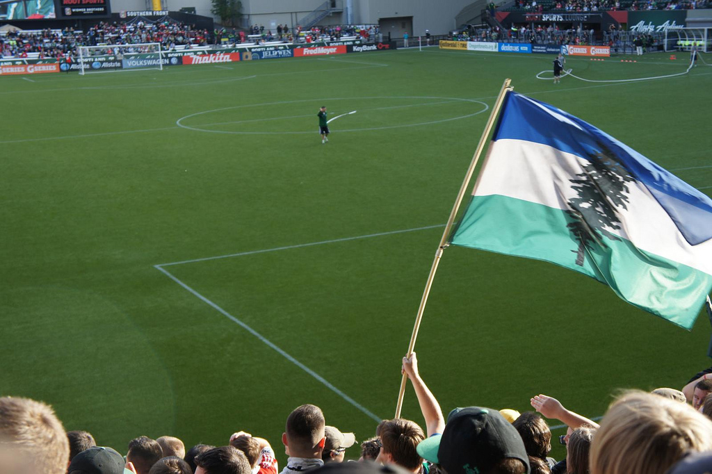 The Cascadian flag flies at a Cascadia Cup soccer game. (Photo by 104Muttons via Flickr)